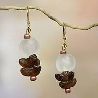 Recycled glass dangle earrings, 'Ochre Magic' - African Handcrafted Recycled Glass Earrings