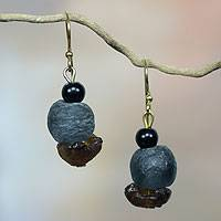 Recycled glass dangle earrings, 'Magic' - African Handcrafted Recycled Glass Dangle Earrings