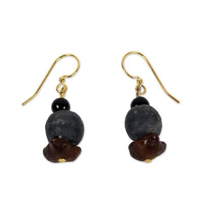 African Handcrafted Recycled Glass Dangle Earrings