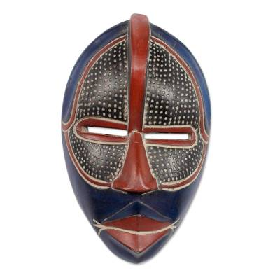 African wood mask, 'Noble Knight' - Original African Mask Handcrafted in Ghana