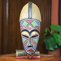 African beaded wood mask, 'Ahoufe Dua'