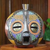 African beaded wood mask, 'Akan Anoma' - Colorful Handcrafted Bird African Mask