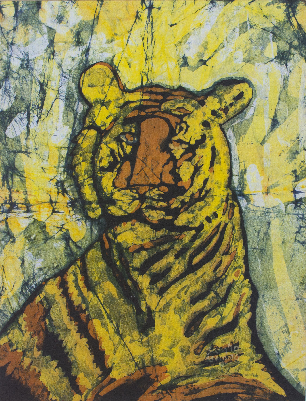 Tiger Batik Portrait - Moody | NOVICA