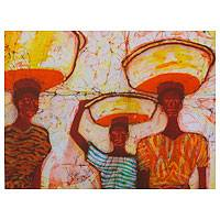 Batik art, 'Packers' - Ghanaian Women Packers Batik Wall Art