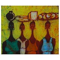 Batik art, 'Group Business' - Ghanaian Women at Market Batik Wall Art