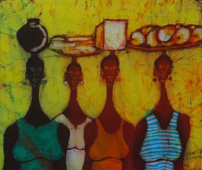 Ghanaian Women at Market Batik Wall Art - Group Business   NOVICA