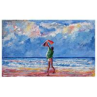 'Fly Me' - Child Playing on Ghanaian Beach Signed Painting