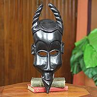 African wood mask, 'Fearless Courage' - African War Mask with Horns Wood Akan Tribe