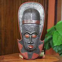 African mask, 'Akan Sandal Man' - Artisan Carved West African Mask