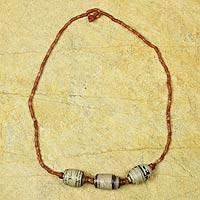Bauxite and recycled paper pendant necklace, 'Newsworthy' - Handmade Necklace with Recycled Paper Beads