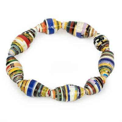 Multicolor Handmade Bracelet with Recycled Paper Beads