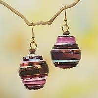 Recycled paper dangle earrings, 'Modern Raspberry' - Recycled Paper Bead Handmade Earrings