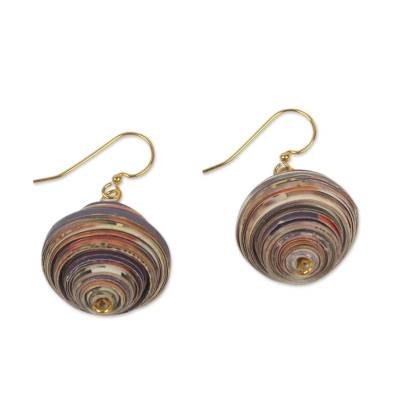 Recycled paper dangle earrings, 'Grape Berry' - Recycled Paper Earrings