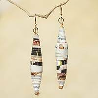 Recycled paper dangle earrings, 'Colored Pencil' - Handmade Eco-Earrings