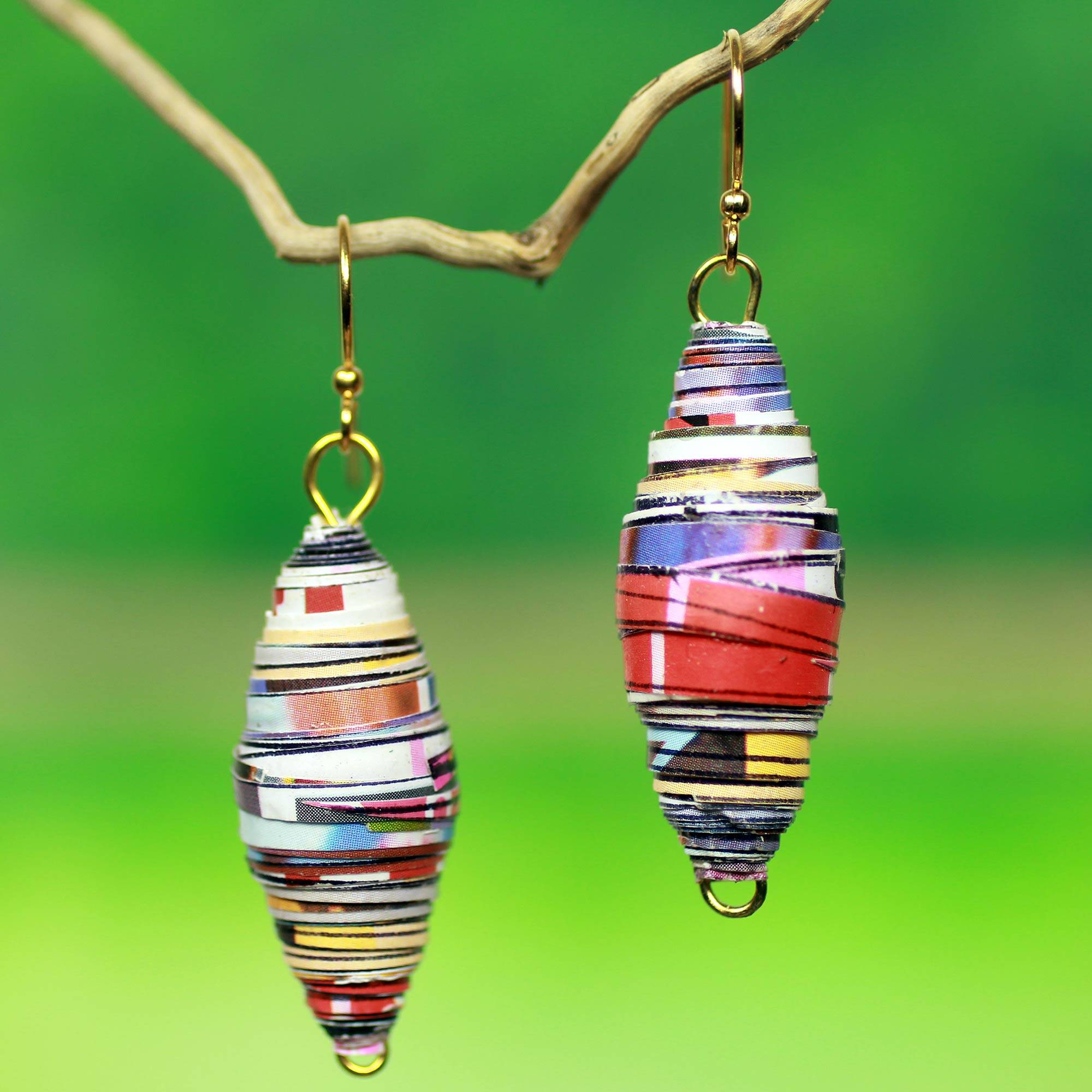 Recycled paper dangle earrings, 'Fresh Start ' - Eco-Design Recycled Paper Earrings from Africa