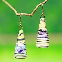 Recycled paper dangle earrings, 'Ring My Bell'