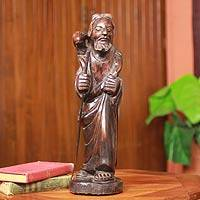 Ebony sculpture, 'The Good Shepherd' - Handcrafted Ebony Wood Jesus Sculpture from Africa