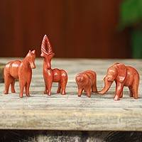 Teak sculptures, 'African Animals' (set of 4) - Artisan Crafted African Animal Sculptures (Set of 4)