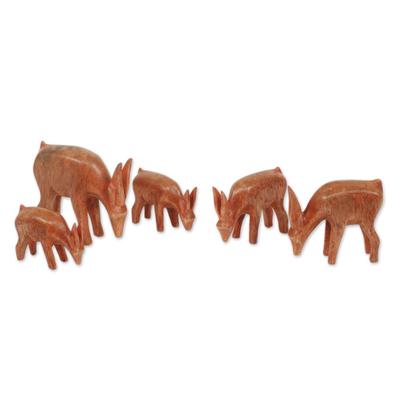 Teak sculptures, 'African Antelopes' (set of 5) - Artisan Crafted African Antelope Sculptures (Set of 5)