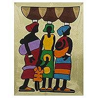 Threadwork art, 'Market Ladies' - African Threadwork Wall Art