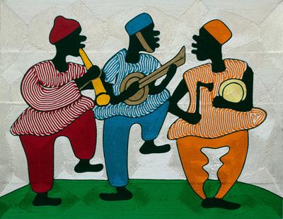 Threadwork art, 'Happy Times' - Ghanaian Musicians Threadwork Wall Art