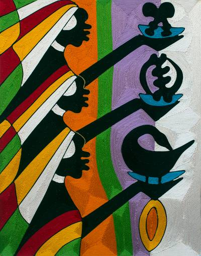 Threadwork art, 'Adinkra Symbols I' - Ghanaian Threadwork Wall Art