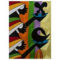 Threadwork art, 'Adinkra Symbols II' - African Threadwork Wall Art
