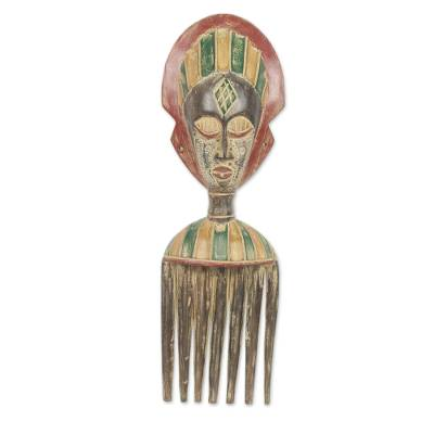 African mask, 'Akan Comb' - African Comb Mask