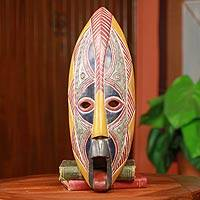 African mask, 'Dagomba Soothsayer' - Red and Yellow Dagomba Tribe African Mask