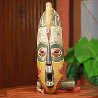 African wood mask, 'Kasa Anoma' - Talking Bird African Mask
