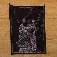 Cotton batik wall hanging, 'Ritual Procession II' - Batik on Cotton African Wall Hanging