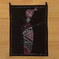 Cotton batik wall hanging, 'Ritualist' - Signed African Batik Wall Art