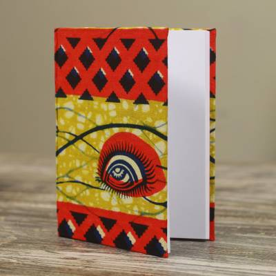Cotton journal, 'Visionary Days' (Large) - Red and Yellow Journal with Cotton Cover (Large)