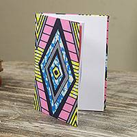 Cotton journal, 'Diamond in the Sky' - Artisan Crafted 98-page Journal with Geometric Cotton Covers