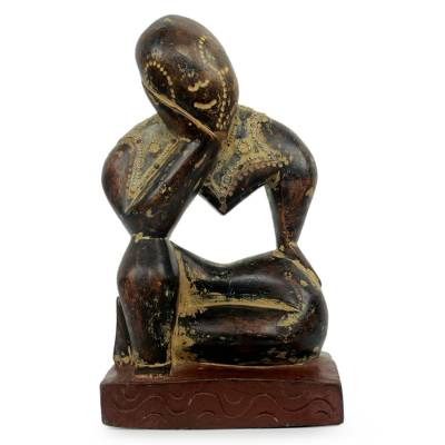 Wood sculpture, 'Thinking Man' - Vintage Style Ghanaian Wood Sculpture