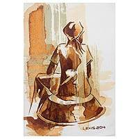 'Break Time' - Woman's Portrait in Brown