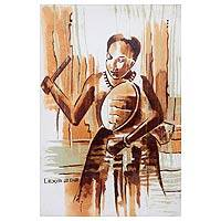 'How Sweet the Sound' - Ghanaian Drummer Signed Mixed Media Painting