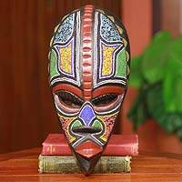 African beaded wood mask, 'Proud Hausa Warrior' - Carved and Beaded African Warrior Mask