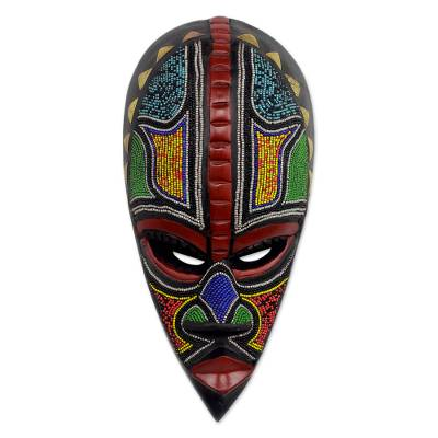 African beaded wood mask, 'Proud Hausa Warrior' - Authentic African Mask