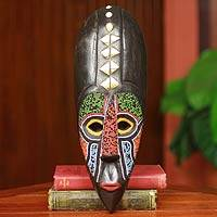 African beaded wood mask, 'Akan Authority' - Unique Ghanian Hand Beaded Mask