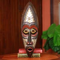 Akan wood mask, 'Star Deity' - Authentic Hand Carved Akan Tribe African Mask