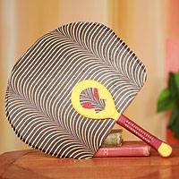Cotton fan, 'Obaahemaa I' - African Fan with Mask Artisan Crafted in Cotton and Wood