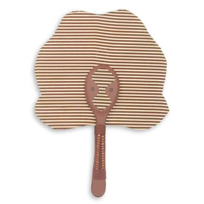 Cotton fan, 'Obaahemaa Parallel' - Hand Crafted African Fan in Cotton and Wood with Mask