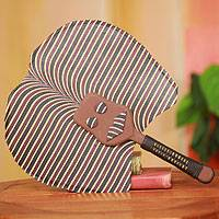 Cotton fan, 'Bobo Mask' - African Artisan Crafted Mask Fan with Cotton and Wood