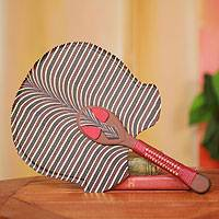 Cotton fan, 'Ashanti Royal Mask in Red' - Hand Crafted African Ashanti Fan with Cotton and Wood