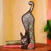 Beaded wood sculpture, 'Abyssinian Cat' - Beaded African Cat Sculpture
