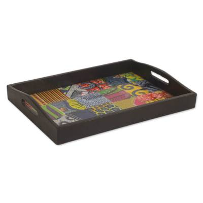Wood and cotton tray, 'Colors of Africa' - Handcrafted African Cotton Decoupage Serving Tray