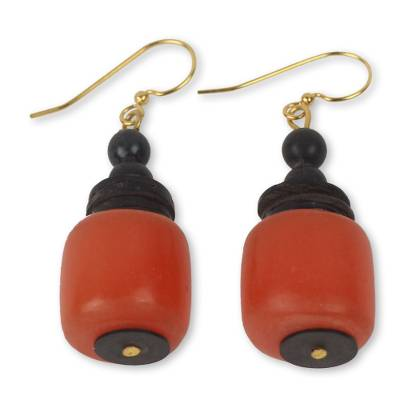 Coconut Shell and Recycled Plastic Eco Earrings from Africa