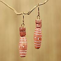 Bauxite and terracotta dangle earrings, 'God Lives' - African Handmade Bauxite and Terracotta Dangle Earrings