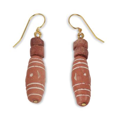 African Handmade Bauxite and Terracotta Dangle Earrings